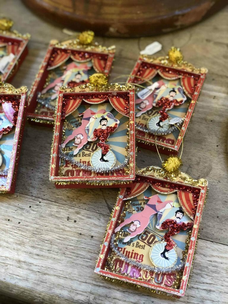Vibrant Victorian style Christmas picture ornaments at Petersham Nurseries