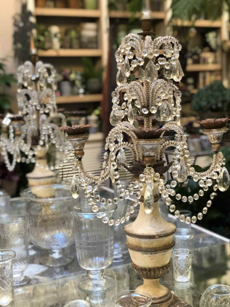 Beautiful decorative candelabra at Petersham Nurseries