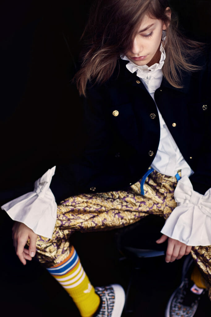 Shirt Lapin, black coat Moschino, brocade pants D&G all at Childrensalon.com, socks Adidas
