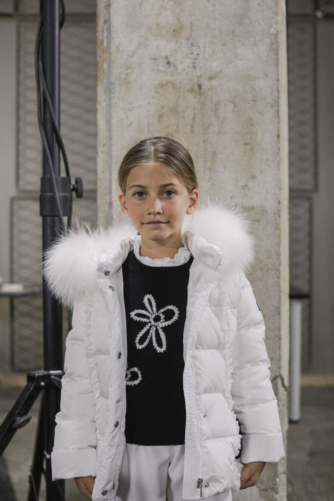 Winter white padded cosiness at Il Gufo FW2019 kids fashion
