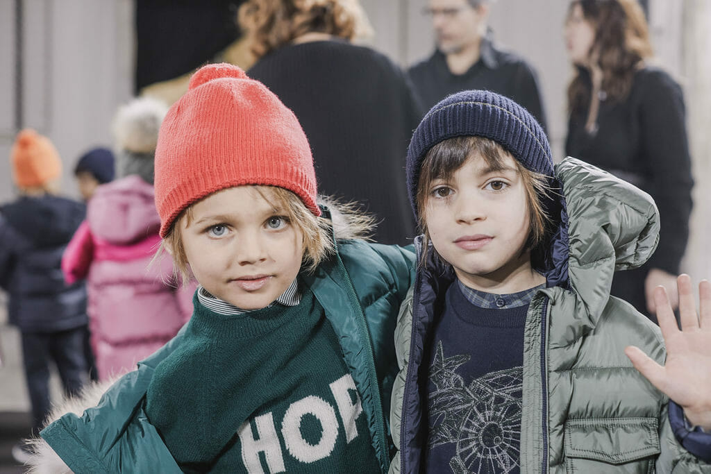 Backstage kids at Il Gufo FW19 Florence runway show