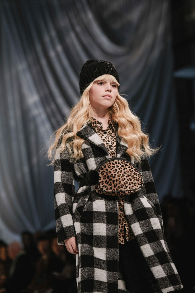 Leopard details are everywhere still, here mixed with a solid plaid coat and a cool bumbag for Monnalisa FW19