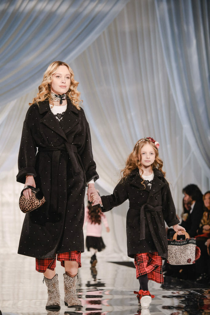Gorgeous Swarovski studded Mini Me and maxi Me coats with plaids at Monnalisa FW19