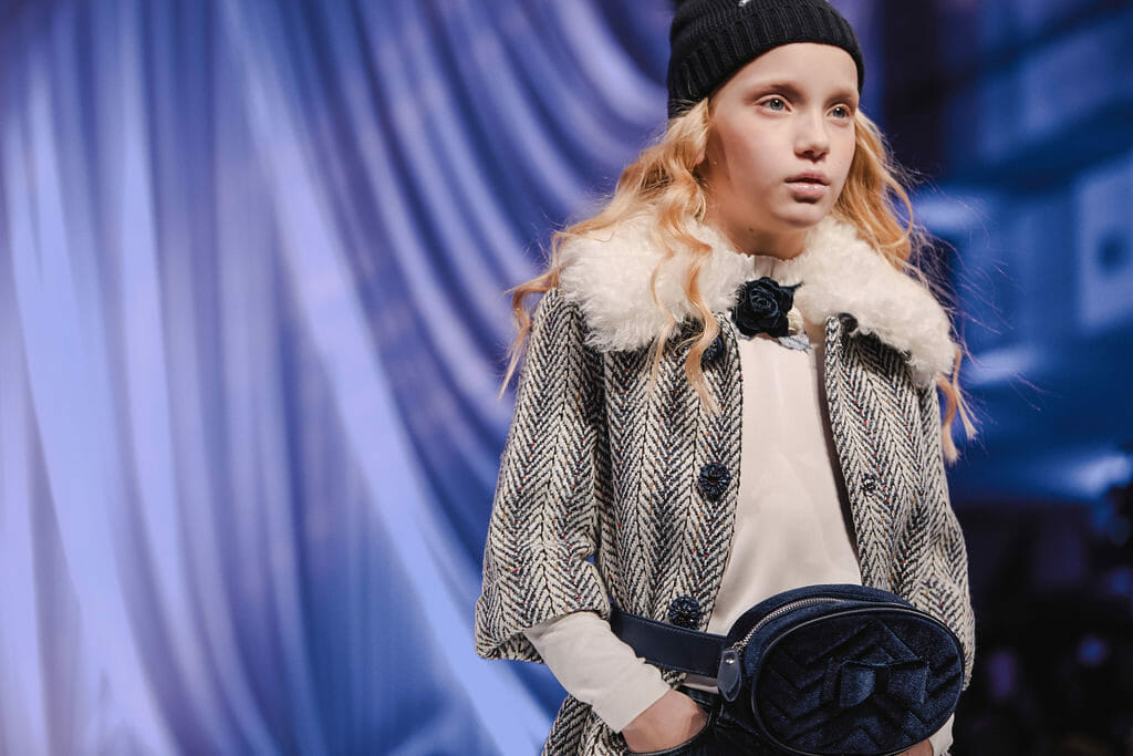 Tweed weaves have become more prominent for winter 2019 kidswear here at Monnalisa