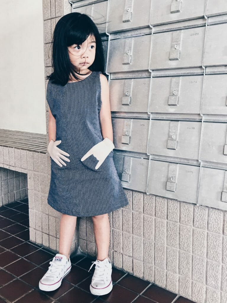 An updated version of Cavalier's special hand pocket dress for summer 2019 kids fashion