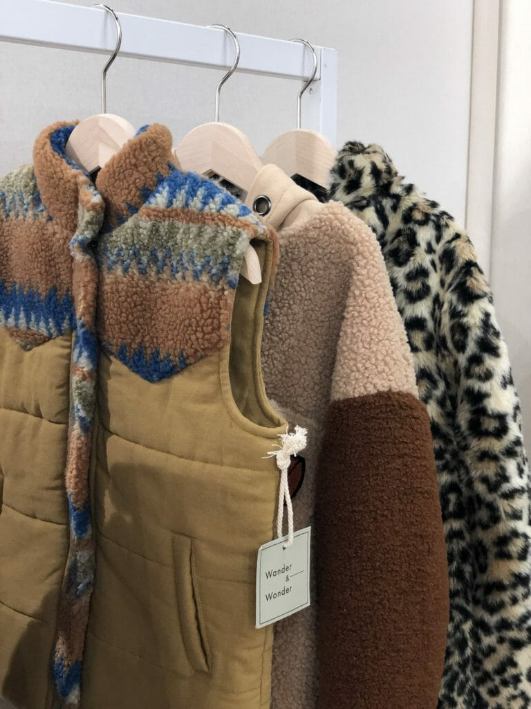 Texture wins for kids fashion with faux shearling print and plain at Wander & Wonder for kidswear winter 2019