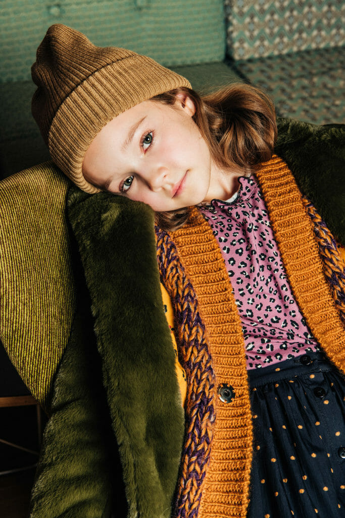 Faux fur coats and pattern mixes from Paade Mode FW19 kids fashion