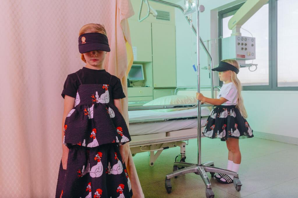 Chicken allergy print from Caroline Bosmans for kids summer fashion 2019