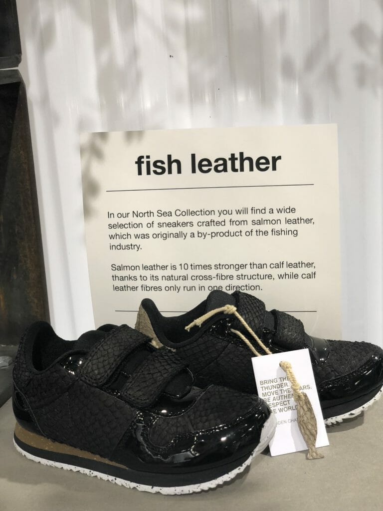Fish leather and cork soles from Woden kids footwear at CIFF Youth for fall/winter 2019