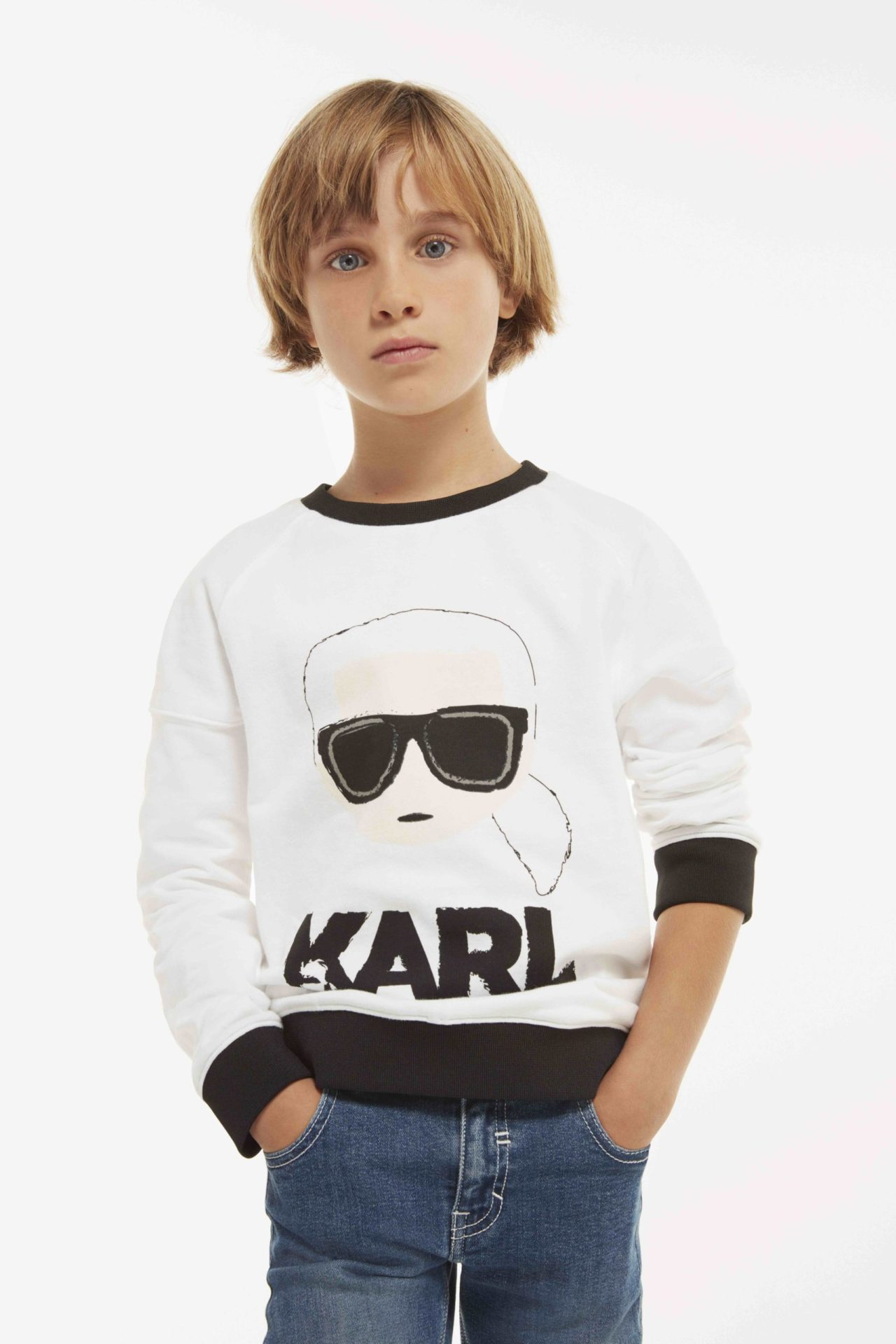 The Karl Lagerfeld kids collection features the signature silhouette of the incredible designer
