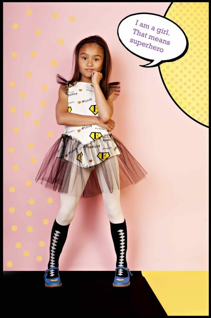Sweet Superhero playdress by EFVVA for spring 2019 kidswear