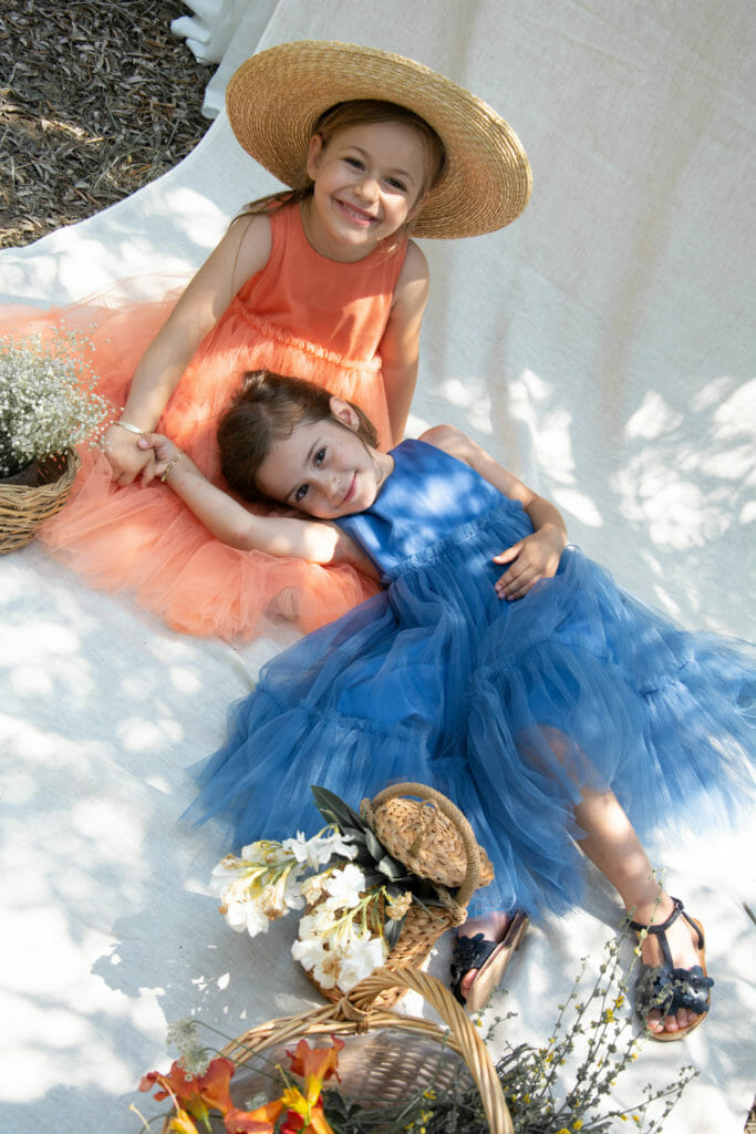 Coral and sky blue tulle dresses by Kokori for summer 2019 kids fashion