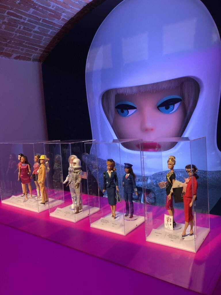 A small selection of the 200 career girl Barbie's that have been launched