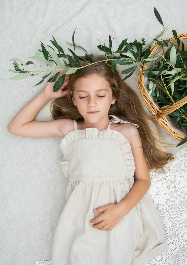 Simple linen dresses with frilled detail by Kokori childrenswear