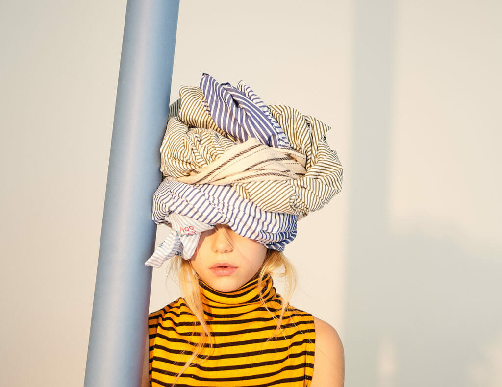 Roll Neck top by Zara, Turban made with a selection of striped shirts from Uniqlo, Zara and H&M