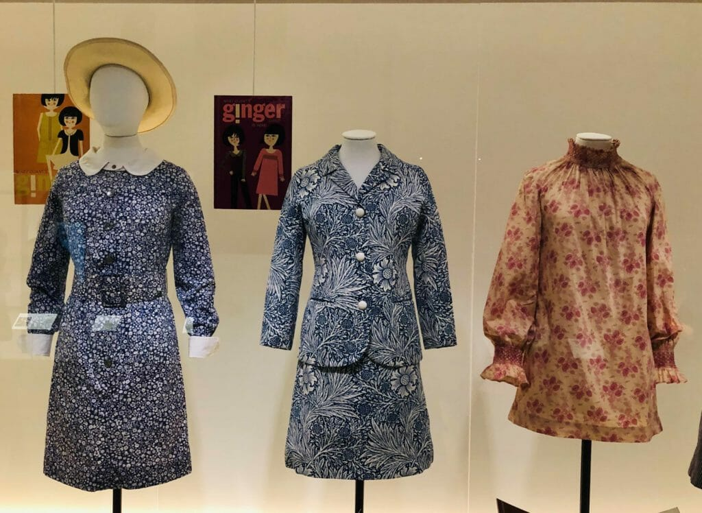 The Mary Quant retrospective features key inspirations such as Victoriana, seen here with William Morris and Liberty prints in the late 1960's