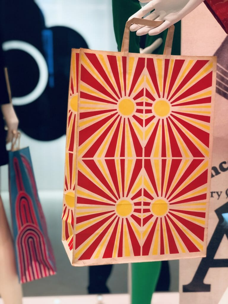 Attention to detail also demanded fabulous printed paper bags for the Quant boutiques using prints by Nigel Quiney