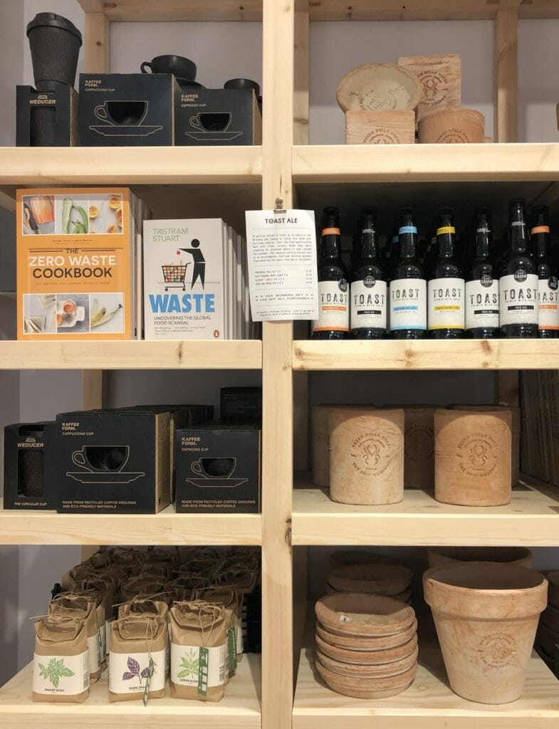 The V&A shop features some of the items seen in the exhibition with coffee cup grounds cups and terracotta style pots made from Cow dung
