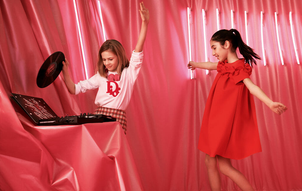 Red captures the joy of party time at Baby Dior fall/winter 2019