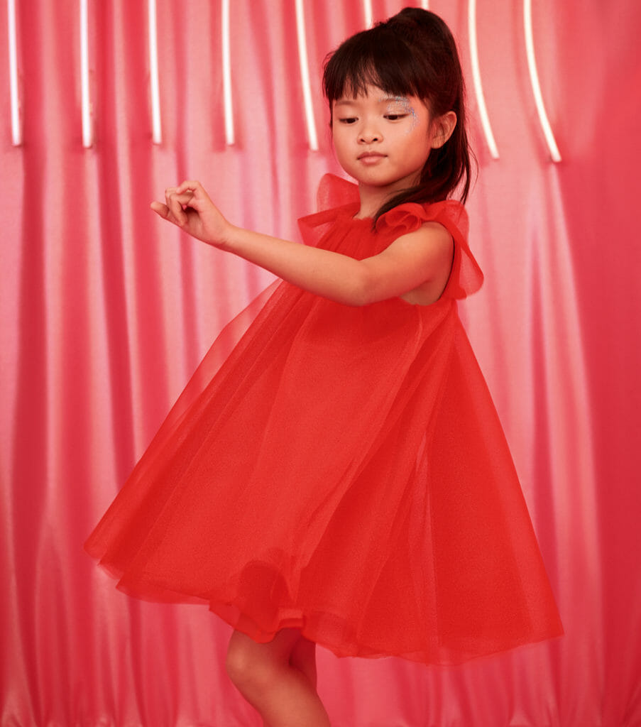 Beautiful rose red tulle dress by baby Dior for fall/winter 2019