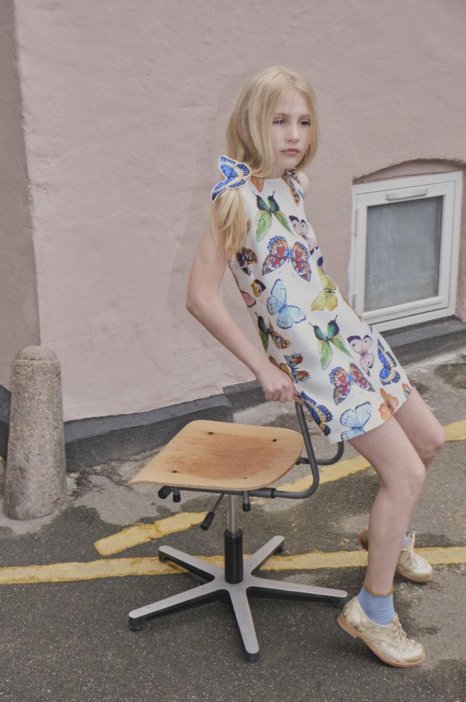 Butterfly dress for kidswear SS19 in Hooligans magazine