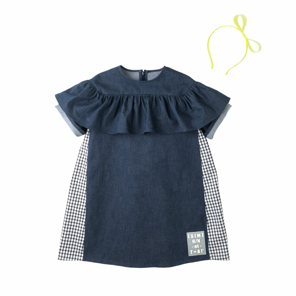 Denim styling with a deconstructed logo at Simonetta for Summer 2020 kidswear