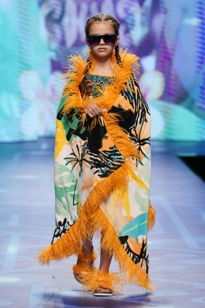 Wonderful Tuc Tuc tropical print swimwear with feathered towel and sandal accessories