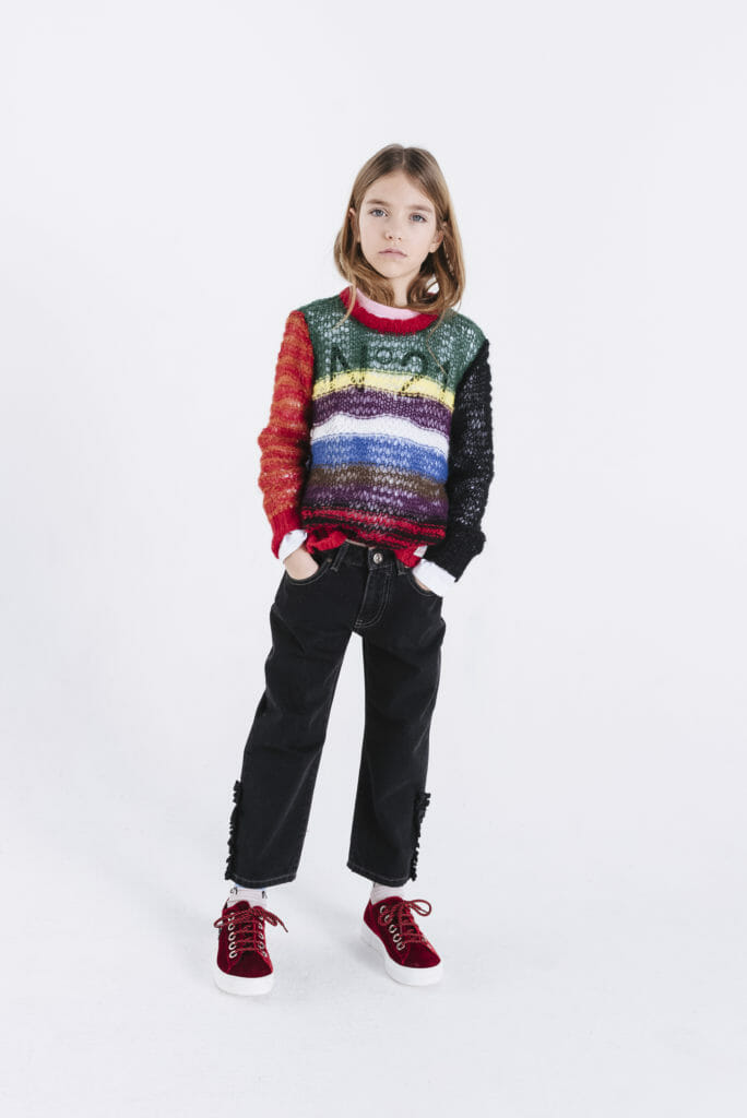 Retro look rainbow stripe sweater by N21 for girlswear winter 2019