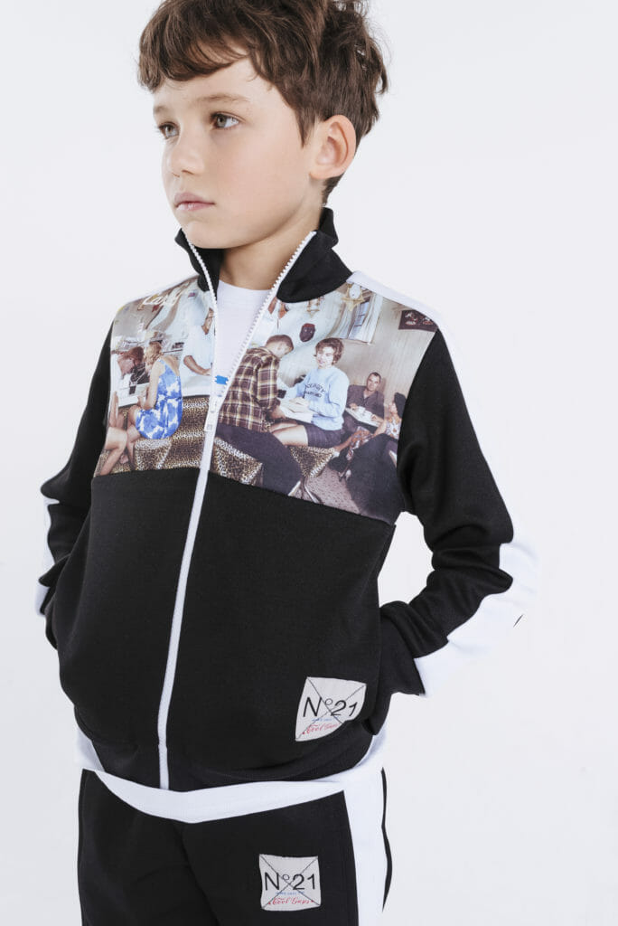 Nostalgic print sportswear for boys from N21, the Italian mini me label for F/W19
