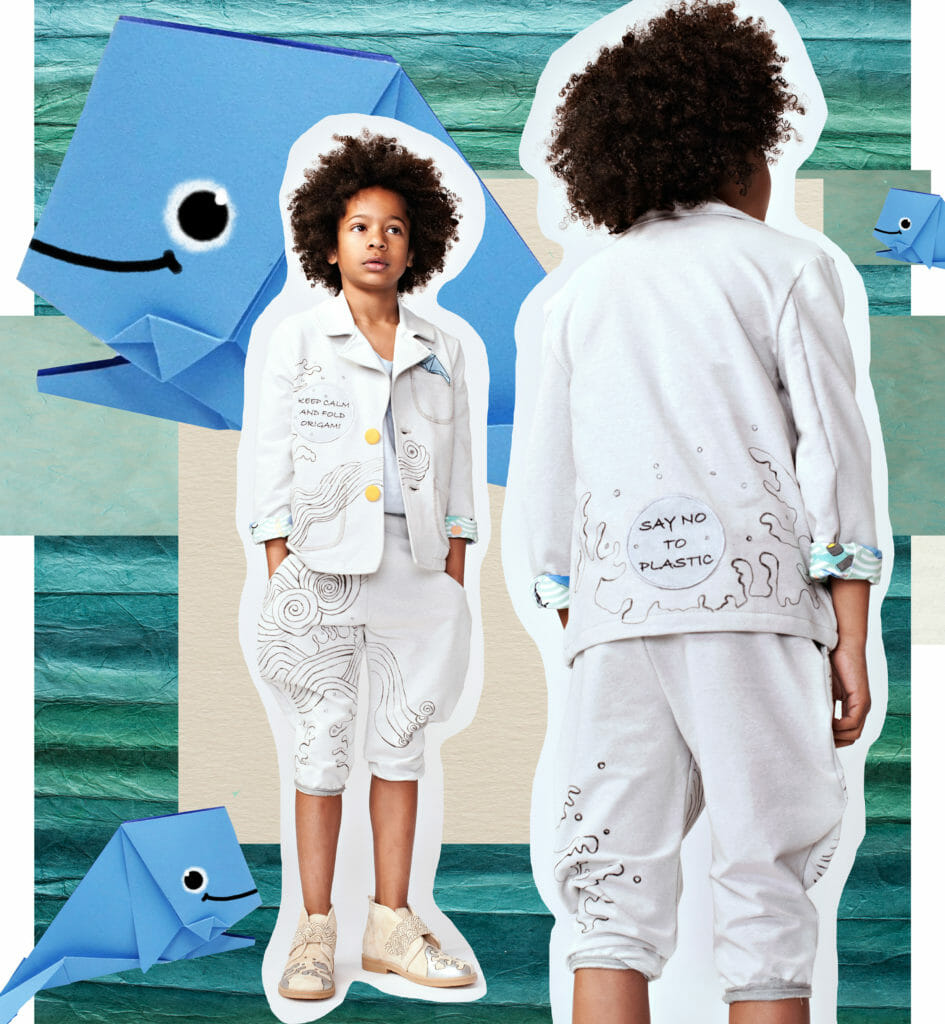 Strong eco messages for kids awareness by EFVVA for their SS20 kids fashion collection