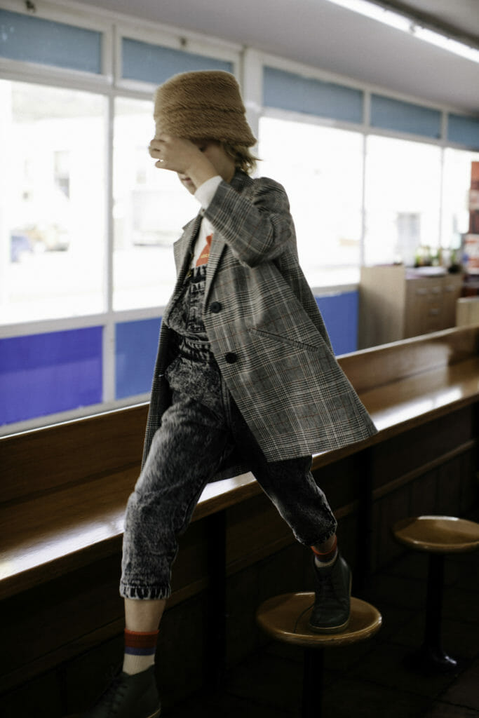 Plaids and denim add to the workaday mix at Tiny Cottons for fall 2019 kidswear