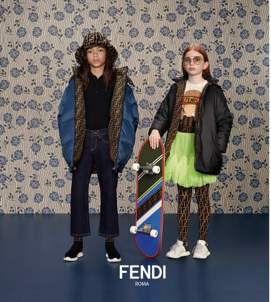 Logo lined jackets and tights for Fendi Kids fashion fall/winter 2019