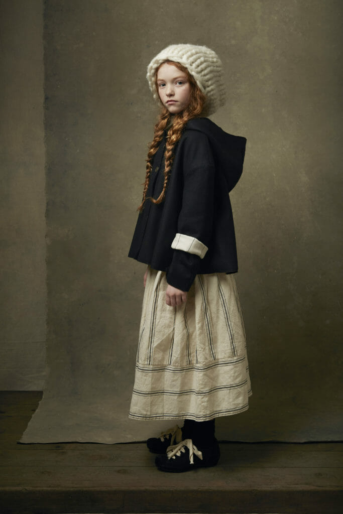 Striped hessian skirts and chunky knits for autumn looks at Little Creative Factory launch today