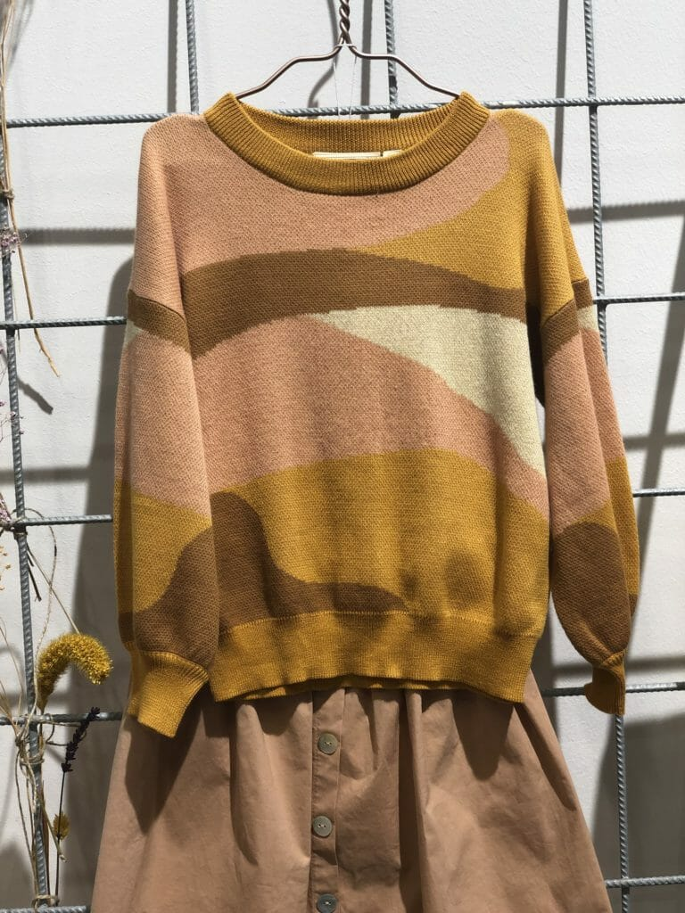 Abstract sweater at Soft Gallery who celebrated all things natural for spring 2020 kidswear