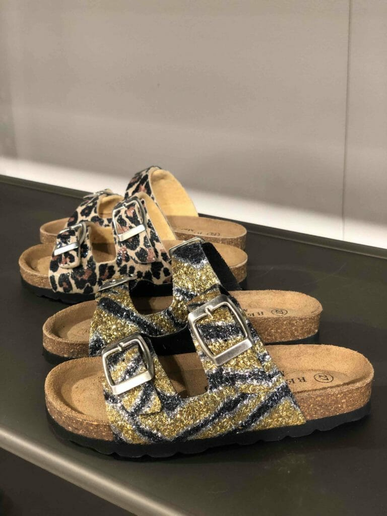 Then there's the more rock'n'roll side of Copenhagen fashion with these mini me glitter sandals from Re:Designed