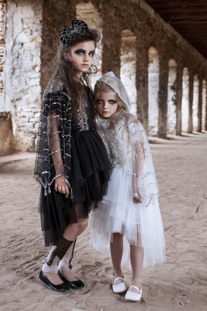 Sparkly cobweb capes from Tutu du Monde for Halloween 2019 girls fashion
