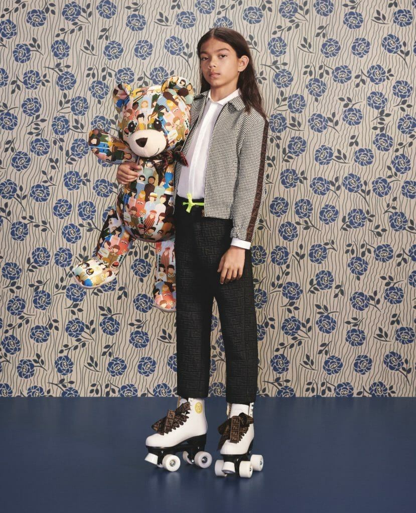 Slick tailoring and logo imprint trousers at Fendi kidswear for fall 2019
