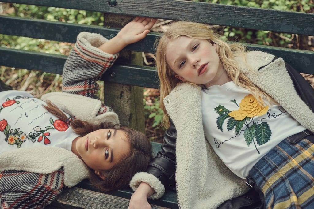 US kids fall fashion by Oscar De La Renta with modern faux shearling trends
