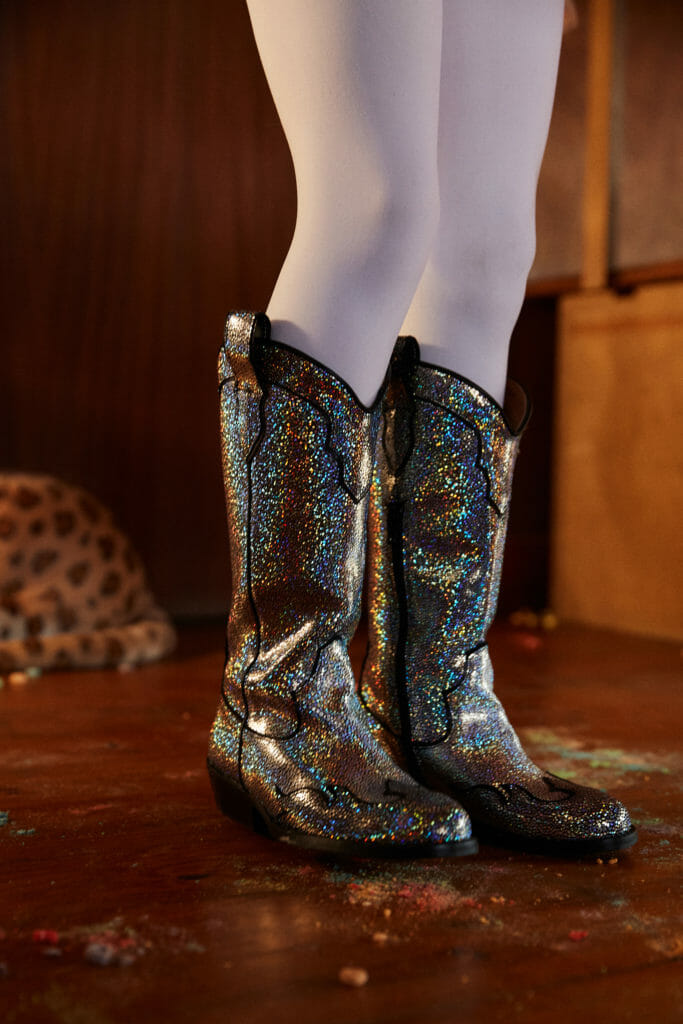 Country kids fashion crossed with 70's retro disco led to these sparkle cowboy boots at Maison Mangostan for FW19 kidswear