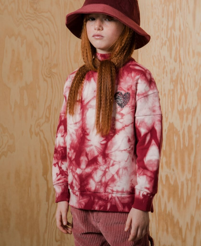Kids go groovy with tie dye sweatshirts at Finger in the Nose for fall/ winter 2019