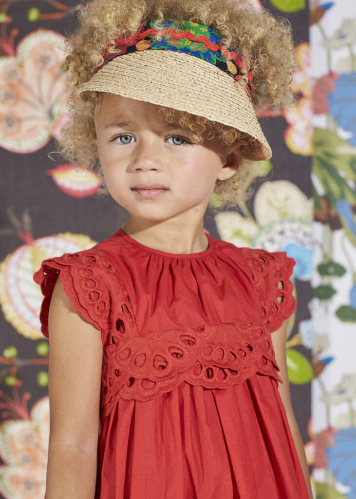 Straw accessories and lace eyelet details at Tia Cibani kids fashion spring 2020