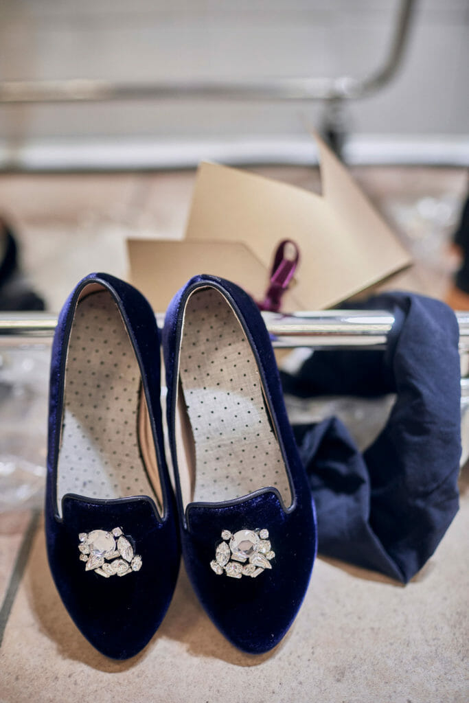 Baroque velvet slippers at il Gufo Italian childrenswear
