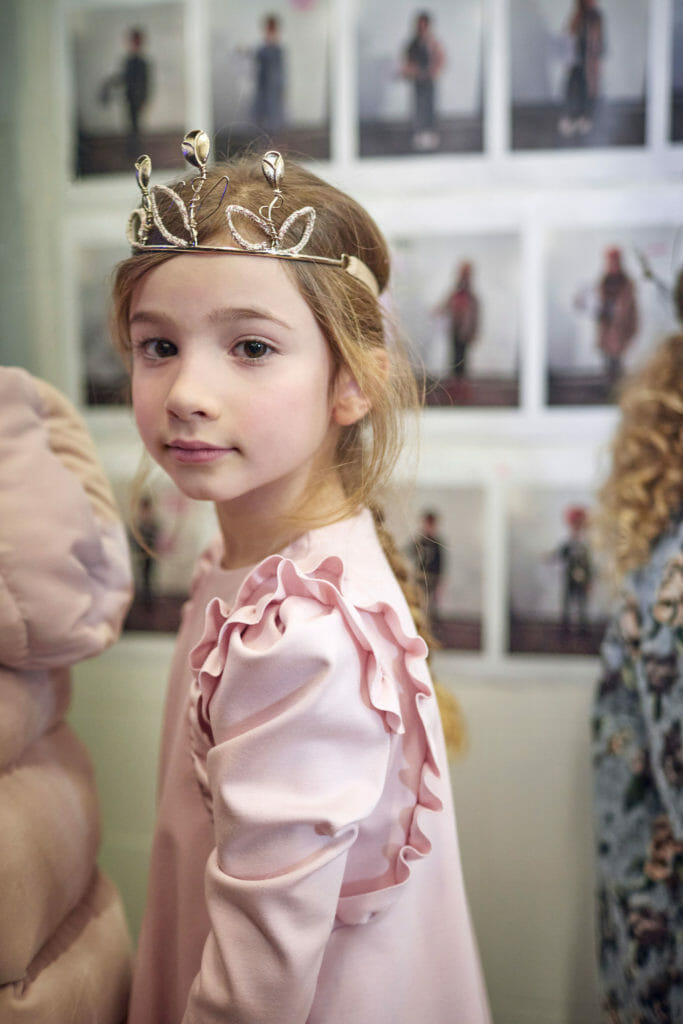 A delicate princess dress at Il Gufo kids fashion catwalk