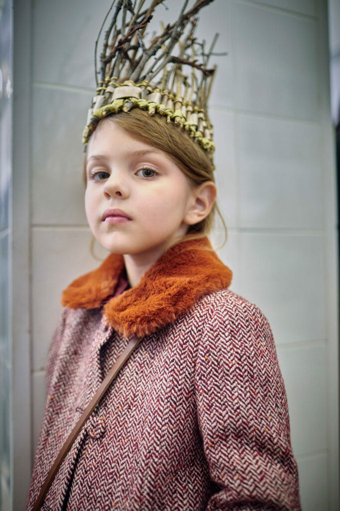 Beautiful backstage kids portraits by Abi Campbell from Il Gufo Fall/Winter 2020 fashion show