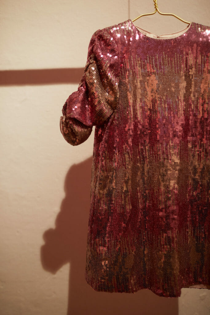 A pink Rainbow shaded sequin dress at Velveteen in Apartment at Pitti Bimbo 90