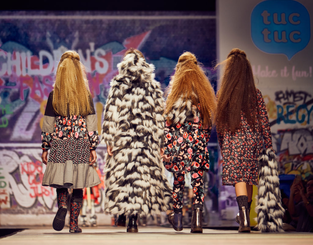 Tuc Tuc showed a mixed up funky vibe with black and white faux fur and dark floral prints