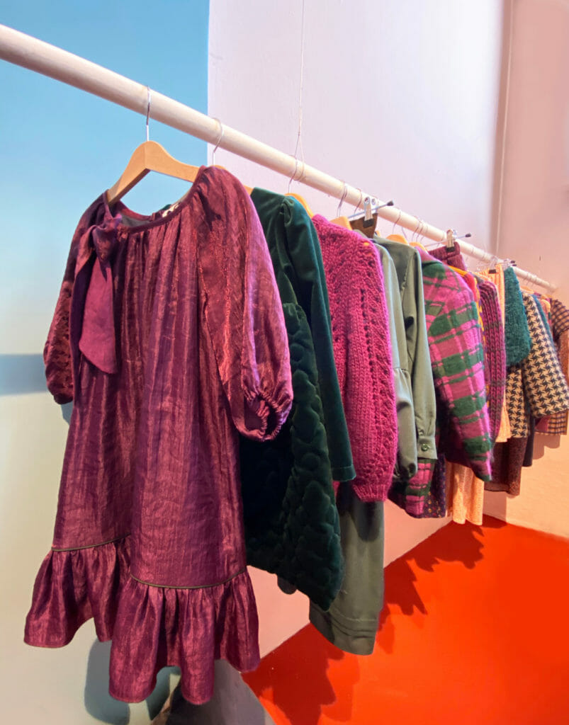 Purple and green was a favoured combination, here at Paade Mode for winter 2020 at Pitti Bimbo 90