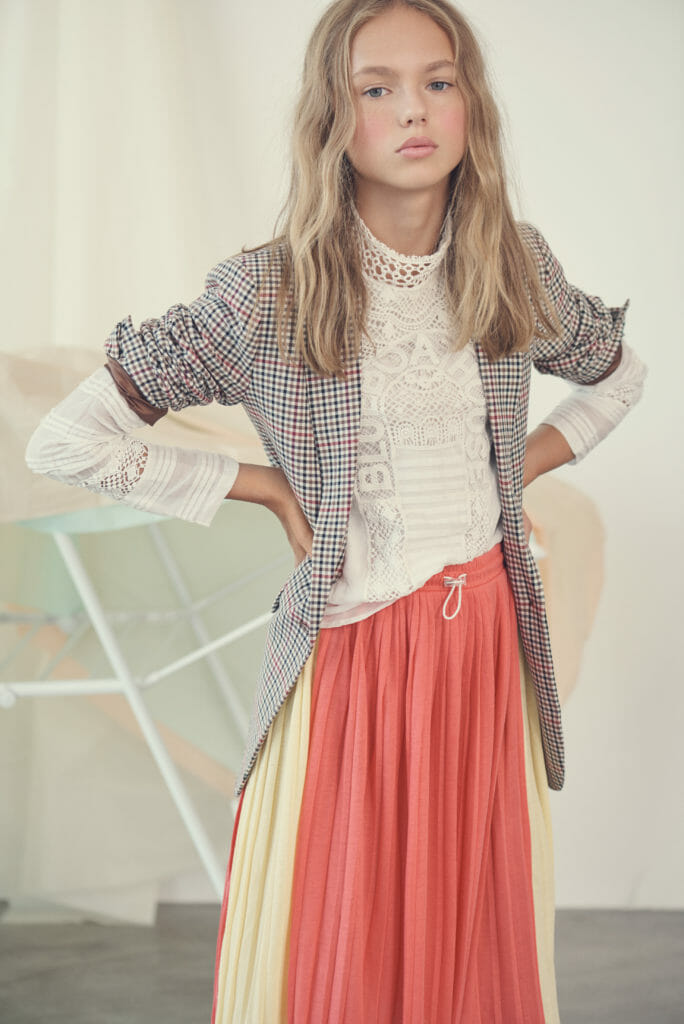 Vintage lace and plaid checks give kids fashion a modern look