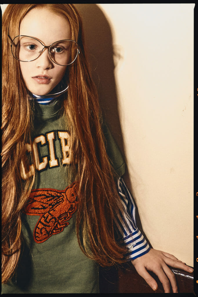 Striped shirt MSGM, sweatshirt by Gucci, glasses throughout stylists own