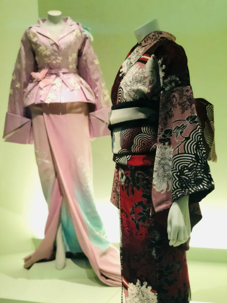 A 2019 traditional Kimono by Japanese designer Jotaro Saito and a Western inspired creation by John Galliano for Dior from 2007 at the V&A London